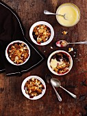 Almond and cherry crumbles with custard