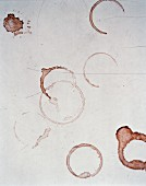 Vinestain on a white table.