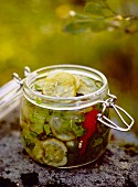 Jar of pickled cucumber, Sweden.