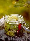 Jar of pickled cucumber, Sweden.