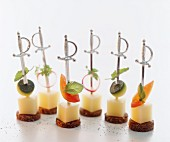 Mini cheese and vegetable skewers for a party