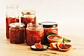 Several jars of blood orange & Campari marmalade