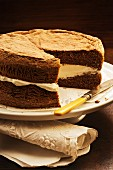 Light chocolate sponge cake with cream filling
