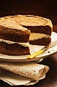 Light chocolate sponge cake with cream filling