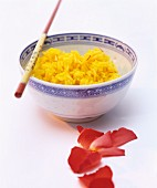 Saffron rice in a porcelain bowl (China)