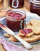 Home made jam on rolls