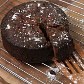 Chocolate cake, one slice cut