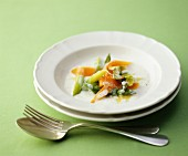 Spring vegetables with a cream sauce