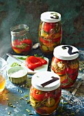 Pickled peppers in balsamic pickling liquor