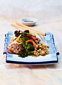 Noodles with broccoli and pork fillet (Asia)