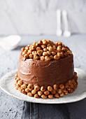 Hazelnut sponge cake with nougat icing