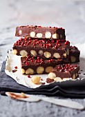 Macadamia truffle bars with red peppercorns