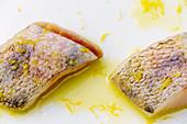 Fried zander fillets