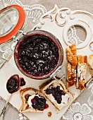 Currants jam on cinnamon buns