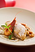 grouper fillet with prawns with cognac