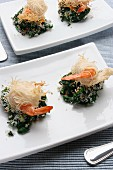 Roulade of shrimps in kataifi pastry and spinach with coconut, Italy