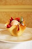 Rosewater ice cream with strawberries