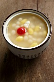 Chinese wedding soup with sticky rice balls and gingko seeds