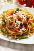 Spaghetti pasta with sparrow-grass, Italy