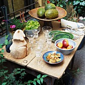 Set table in courtyard