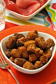 Polpette di tonno, fried fishball of tuna, traditional sicilian dish, Sicily, Italy, Europe