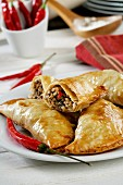 Empanadillas with minced meat, mushrooms and chillies (Spain)