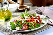 Tomato salad with peppers and feta