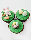 Easter cupcakes with decorations made from fondant icing