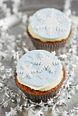 Christmas cupcakes, decorated with snowflakes