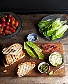 Ingredients for a BLT sandwich