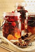 Mulled wine in jars