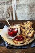 Fruitcake with cornel cherry jam