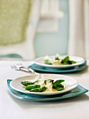 Poached asparagus with hollandaise and parmesan