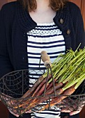 A woman holding a wire basket of fresh heritage carrots