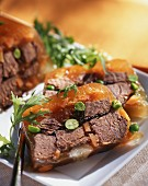 Beef terrine with peas