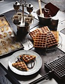 Waffles with chocolate sauce and coffee