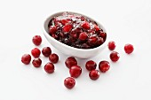Cranberry jam and fresh cranberries