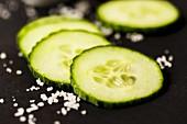 Cucumber slices with sea salt