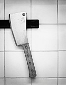 Meat cleaver on a magnetic strip