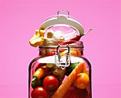 Raw vegetables in a preserving jar