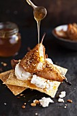Honey baked pears dukkah with goats cheese