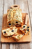 Olive bread with pumpkin seeds, sundried tomatoes and feta
