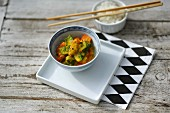 Vegetable curry with carrots and leeks in an Asian-style bowl