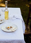 A Finished Meal on an Outdoor Table Setting