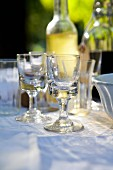 Empty Stemmed Glasses on an Outdoor Table