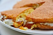 Sponge cake with apricot jam