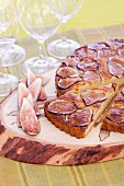 Fig tart on a wooden board