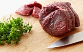 Raw Beef and Fresh Parsley