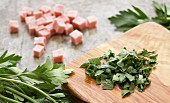 Cubes of Ham and Chopped Parsley
