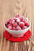 Sugared cranberries in a small bowl